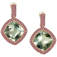Green Amethyst Garnet Rose Gold Drop Earrings One of a Kind