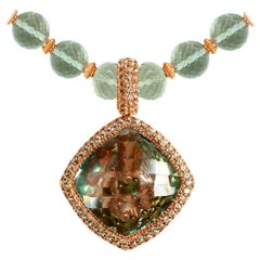 Green Amethyst Peridot Rose Gold Necklace Pendant One of a Kind