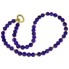 Amethyst Yellow Gold Bead Necklace One of a Kind