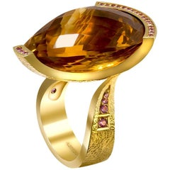 Alex Soldier 40 Carat Citrine Sapphire Gold Textured Swan Ring One of a Kind