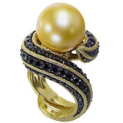 South Sea Pearl Black Diamond Yellow Gold Ring One of a Kind