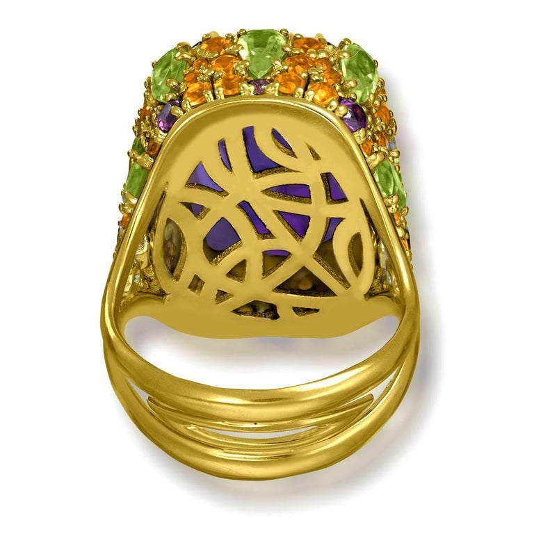 Women's or Men's Amethyst Sapphire Peridot Garnet Diamond Gold Ring For Sale