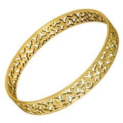 Alex Soldier Gold Textured Bangle Bracelet One of a Kind