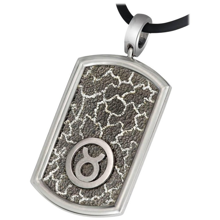 Alex Soldier Zodiac Sterling Silver Platinum Tag Necklace on Cord One of a Kind For Sale