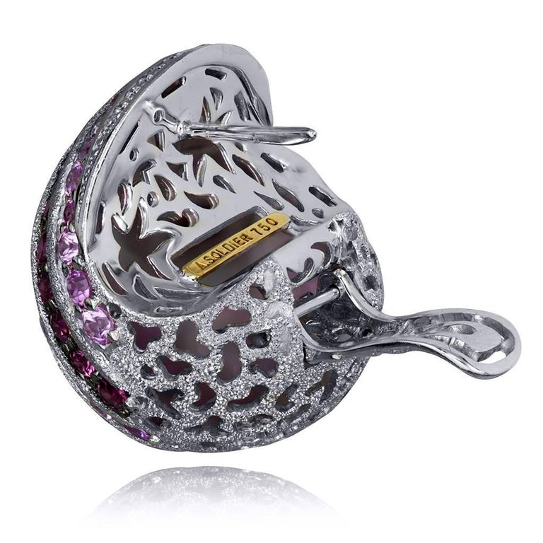 Sapphire Tourmaline Diamond Garnet Gold Snail Earrings Cufflinks One of a kind In New Condition For Sale In New York, NY