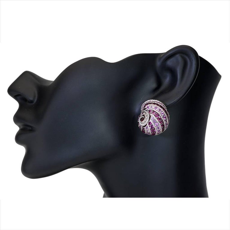 Sapphire Tourmaline Diamond Garnet Gold Snail Earrings Cufflinks One of a kind For Sale 1