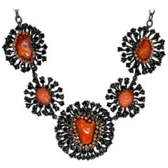 Free-Form Fire Opal Coral Spinel Garnet Sterling Silver Necklace One of a Kind