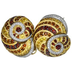 Alex Soldier Sapphire Garnet Ruby Diamond Citrine Gold Platinum Snail Earrings