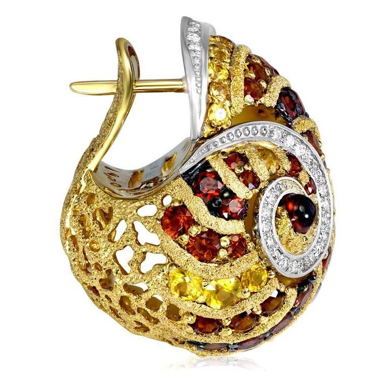 Round Cut Alex Soldier Sapphire Garnet Ruby Diamond Citrine Gold Platinum Snail Earrings For Sale