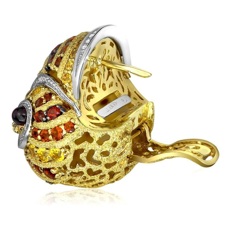 Alex Soldier Sapphire Garnet Ruby Diamond Citrine Gold Platinum Snail Earrings In New Condition For Sale In New York, NY