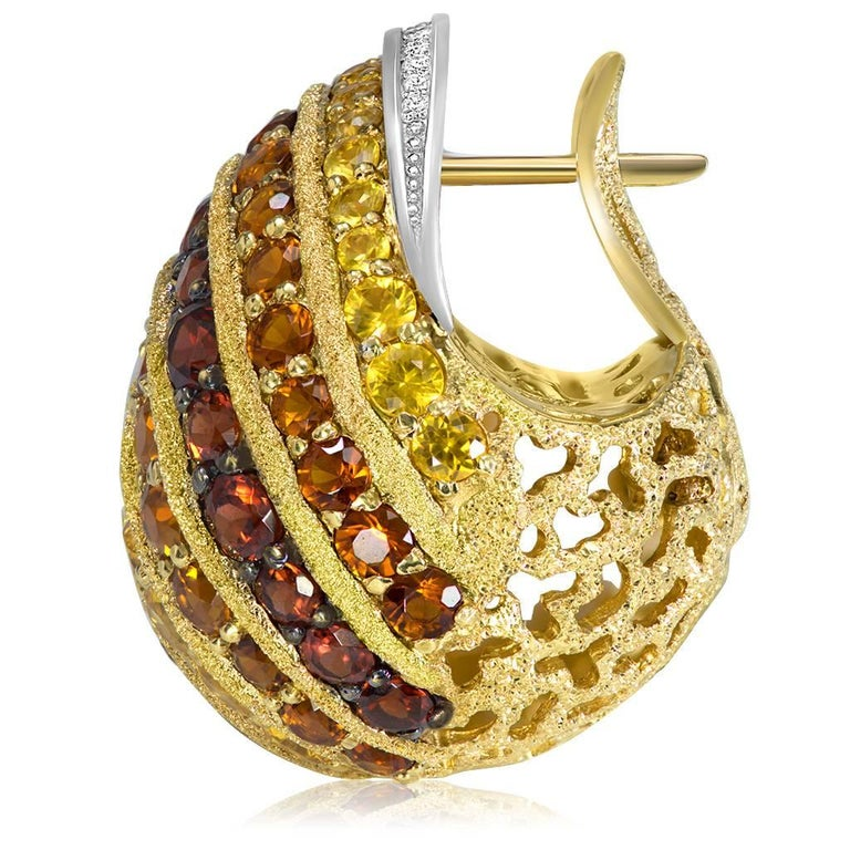 Women's or Men's Alex Soldier Sapphire Garnet Ruby Diamond Citrine Gold Platinum Snail Earrings For Sale