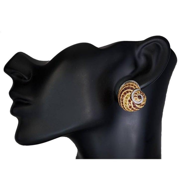 Alex Soldier Sapphire Garnet Ruby Diamond Citrine Gold Platinum Snail Earrings For Sale 2