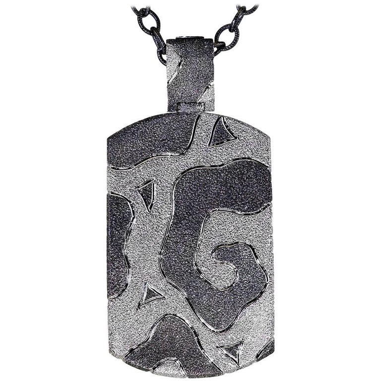 Sterling Silver Platinum Textured Tag Pendant Necklace on Chain