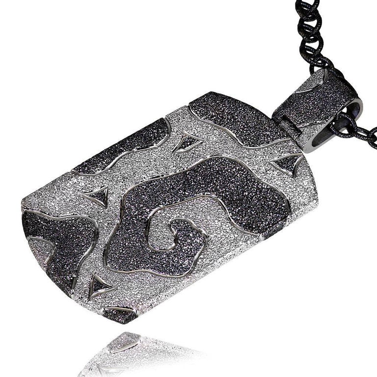 Alex Soldier Volna Tag Pendant Necklace: made in silver with platinum and dark platinum infusion (deep plating), suspended on 36 inch (91.44 cm) dark silver chain with adjustable length size for versatile wear (chain is included in price). Handmade
