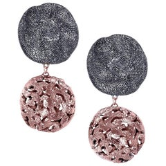 Sterling Silver Rose Gold Platinum Drop Textured Clip-On Earrings One of a Kind
