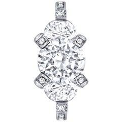 Alex Soldier Diamond Platinum Three-Stone Trinity Engagement Ring One of a Kind