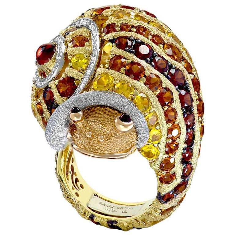 Alex Soldier Diamond Sapphire Ruby Garnet Citrine Platinum Gold Snail Ring For Sale