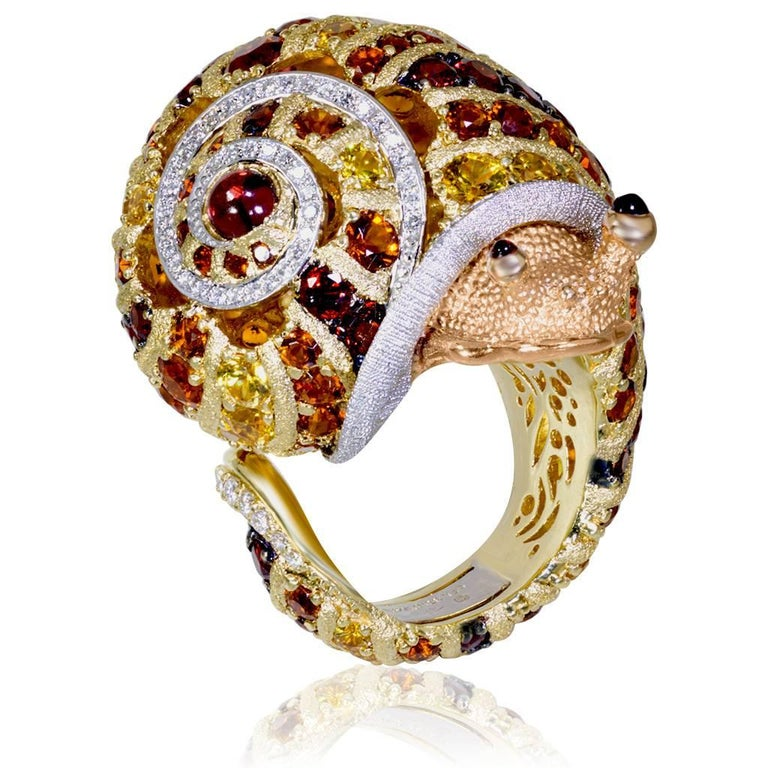 Round Cut Alex Soldier Diamond Sapphire Ruby Garnet Citrine Platinum Gold Snail Ring For Sale