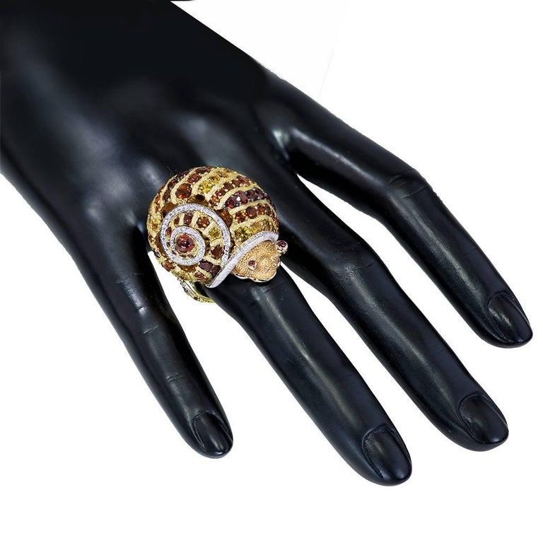 Alex Soldier Diamond Sapphire Ruby Garnet Citrine Platinum Gold Snail Ring For Sale 3