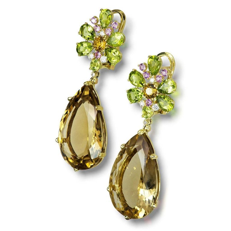 Champagne Quartz Peridot Pink Sapphire Diamond Gold Drop Earrings One of a Kind 2
