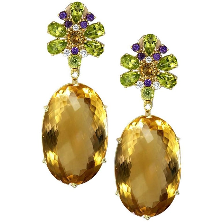 Citrine Peridot Amethyst Diamond Gold Drop Earrings One of a Kind