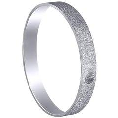 Sterling Silver Platinum Textured Bangle Bracelet One of a Kind