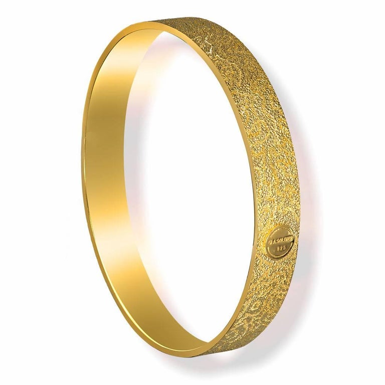 Alex Soldier Textured Bangle Bracelet: made in silver with 24k yellow gold infusion (deep plating) and signature metalwork that creates an illusion of a diamond inlay. Handmade in NYC. Please keep away from water, lotion and perfume to preserve