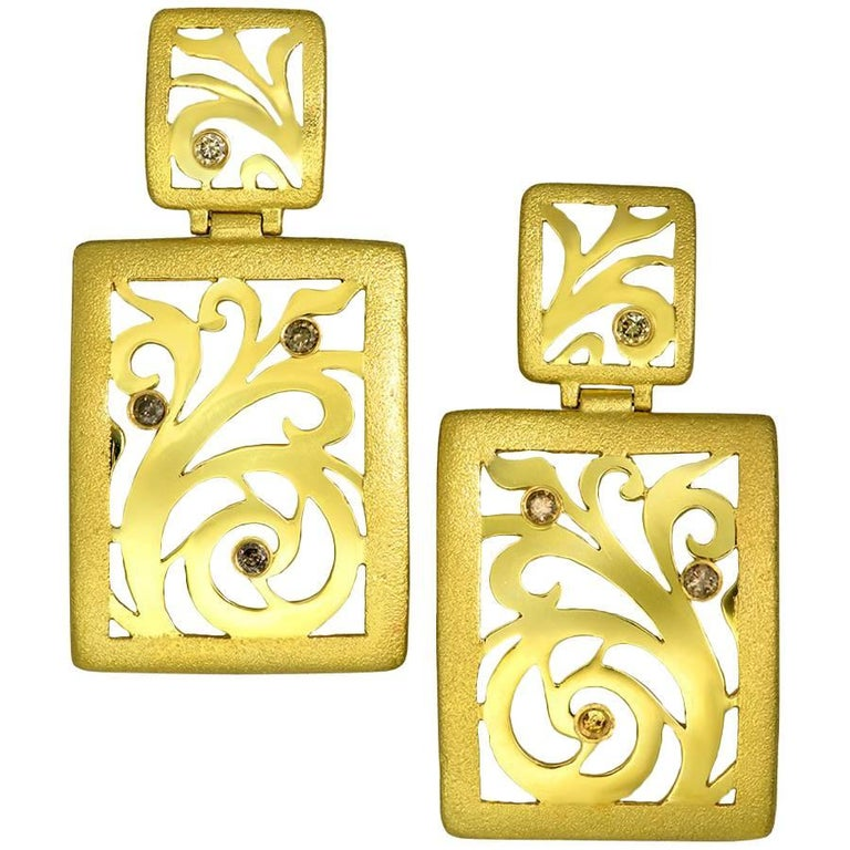 Diamond Gold Contrast Texture Drop Earrings One of a Kind
