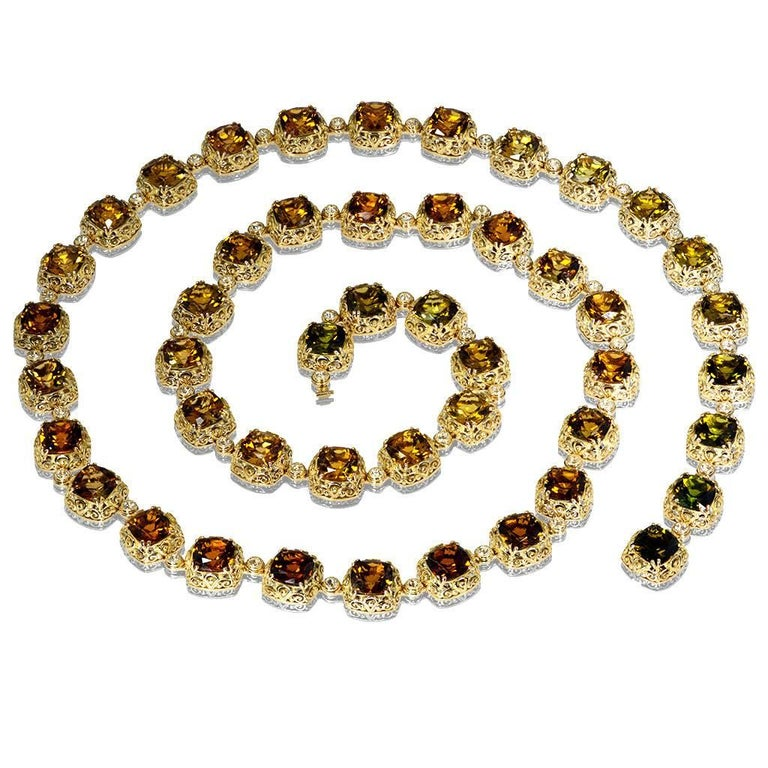 Cushion Cut Tourmaline Diamond Gold Byzantine Necklace One of a Kind For Sale