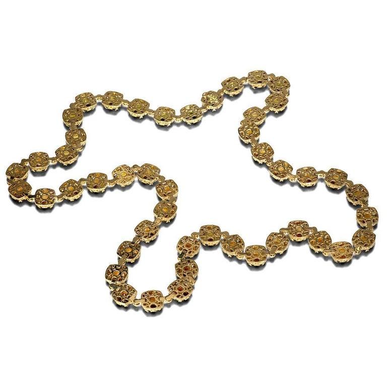 Tourmaline Diamond Gold Byzantine Necklace One of a Kind For Sale 1