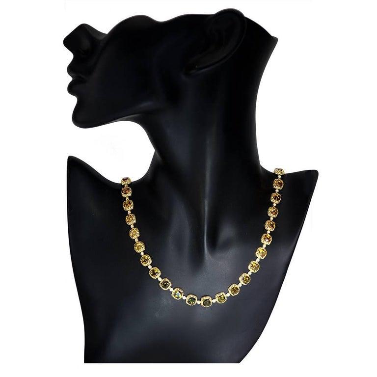Tourmaline Diamond Gold Byzantine Necklace One of a Kind For Sale 3