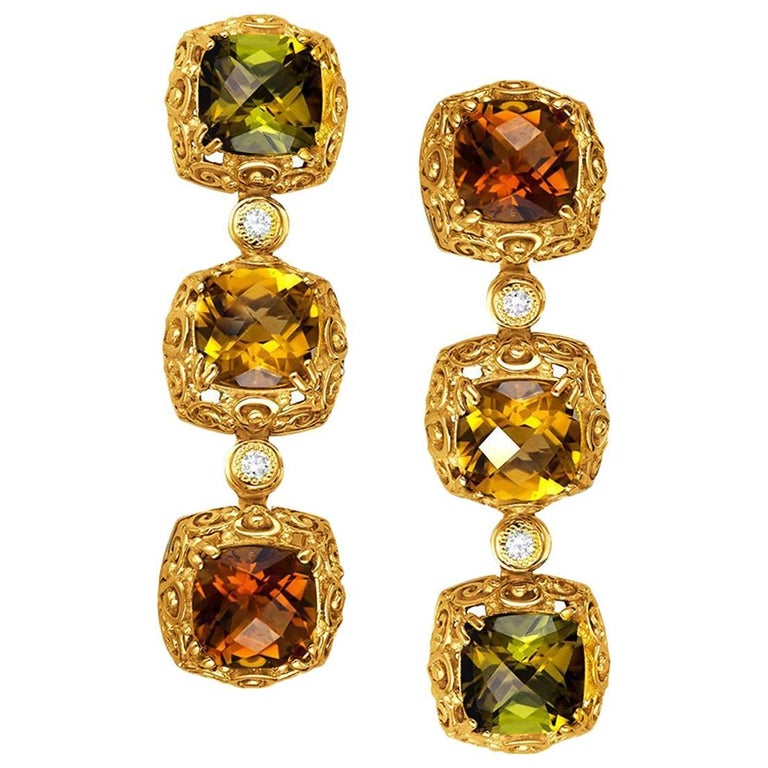Tourmaline Diamond Gold Byzantine Drop Earrings One of a Kind