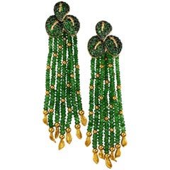 Chrome Diopside Tsavorite Garnet Gold Tassel Earrings One of a Kind