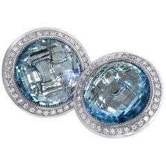 Blue Topaz Diamond Gold Stud Earrings Cufflinks One of a Kind