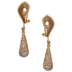 Diamond Rose Gold Drop Dangle Earrings One of a Kind