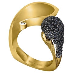 Diamond Yellow Gold Textured Crossover Bypass Ring One of a Kind