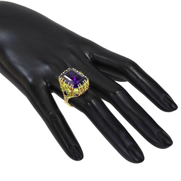 Amethyst Sapphire Peridot Garnet Diamond Gold Ring 1