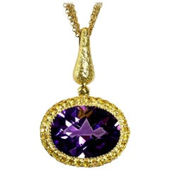 Amethyst Sapphire Gold Pendant Necklace on Chain One of a Kind