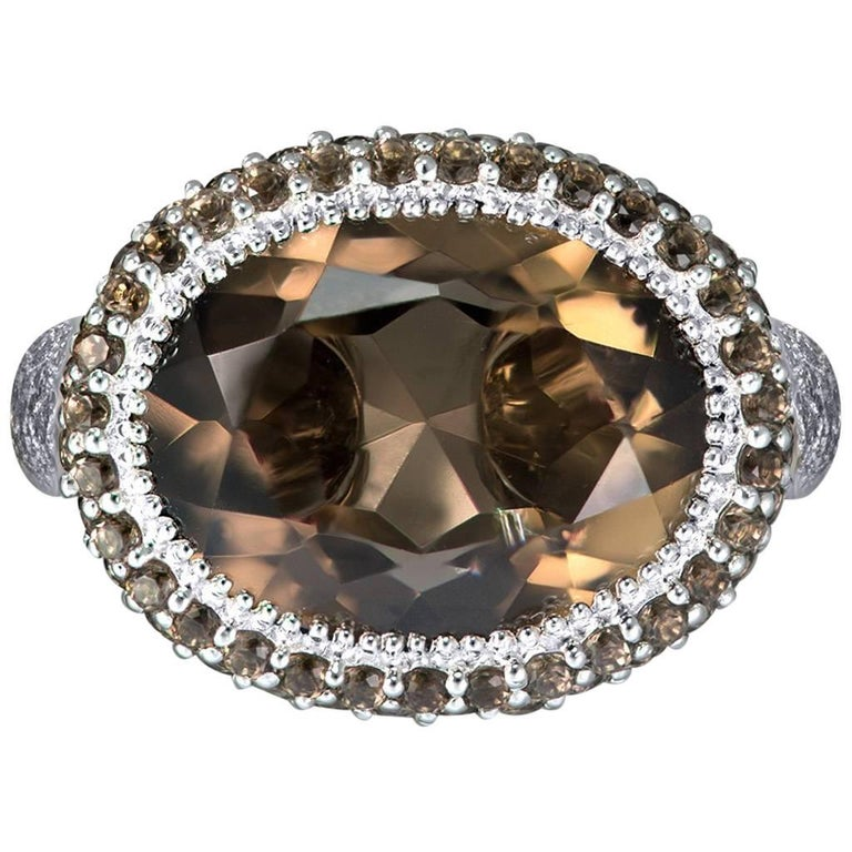 Smoky Topaz White Gold Textured Cocktail Ring One of a Kind