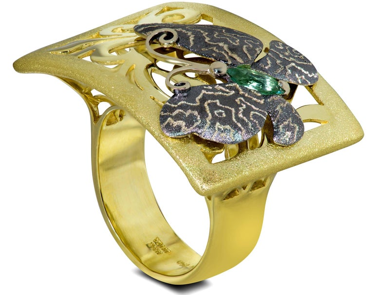 Marquise Cut Tourmaline Gold Butterfly Ring One of a Kind For Sale