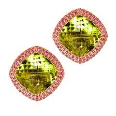 Lemon Citrine Quartz Sapphire Rose Gold Earrings Cufflinks One of a Kind