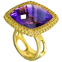 Amethyst Sapphire Gold Textured Cocktail Ring One of a Kind