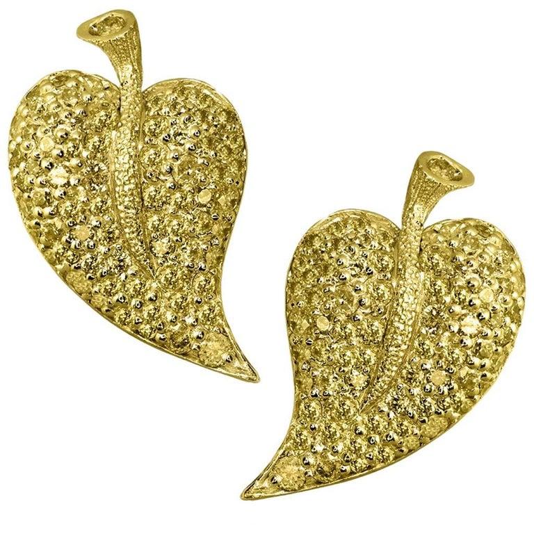 Sapphire Gold Leaf Stud Earrings One of a Kind