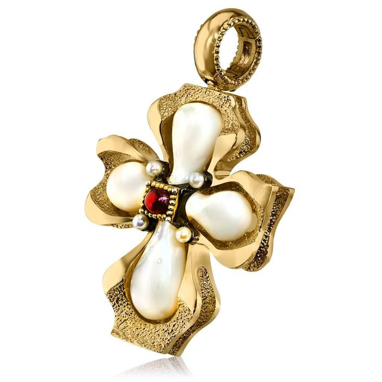 Alex Soldier Cross: made in silver with 24 karat yellow gold infusion (deep plating) with mother of pearl, ruby cabochon (0.7 ct) and Freshwater pearls. Handmade in NYC, it features open bail that can easily be snapped on a chain, a strand of pearls