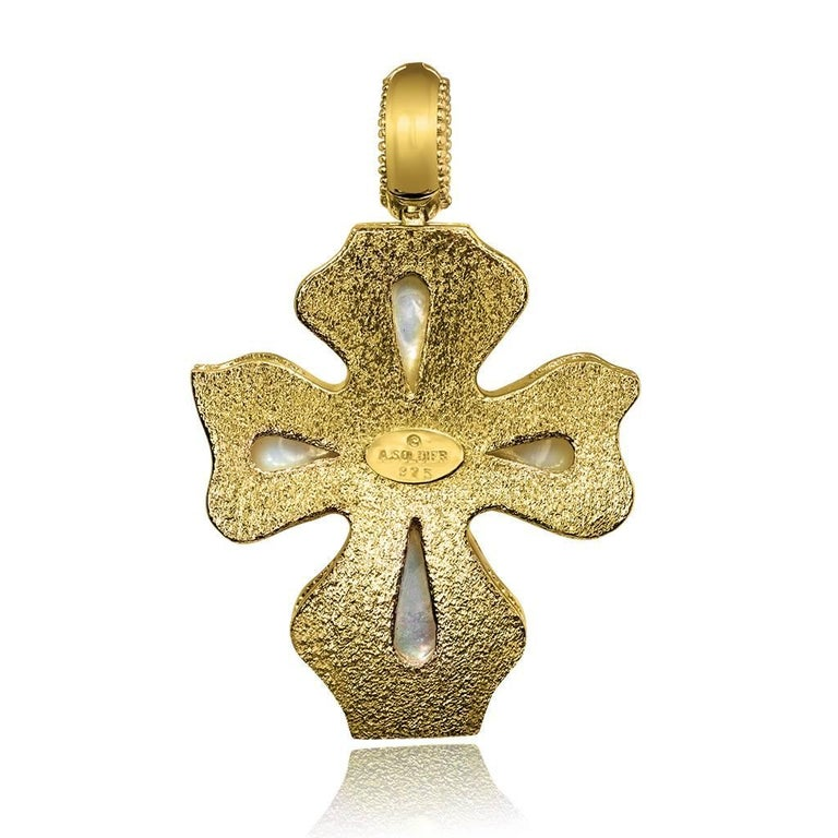Ruby Pearl Sterling Silver Gold Cross Pendant Necklace Enhancer One of a Kind In As new Condition For Sale In New York, NY