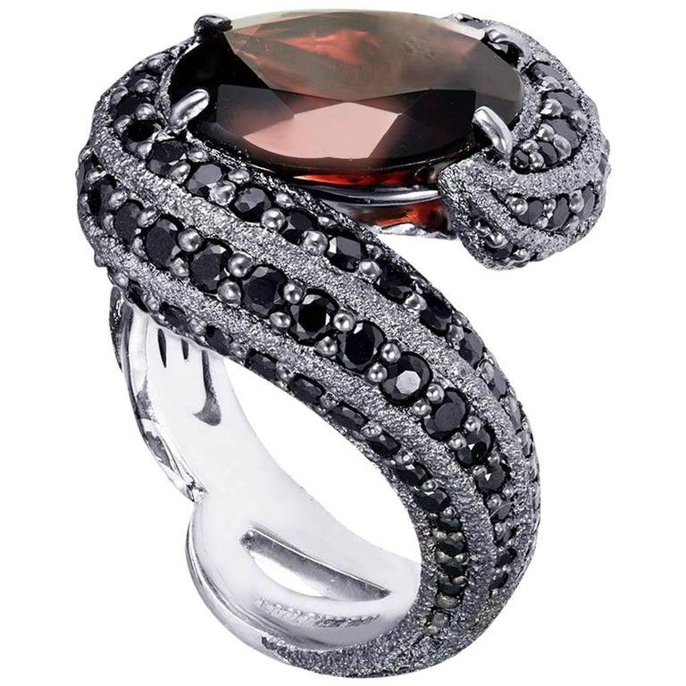 Alex Soldier Garnet Spinel Gold Textured Ring One of a Kind