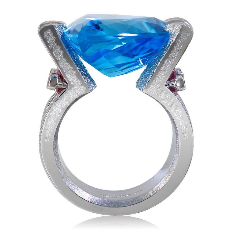 Trillion Cut Blue Topaz Tourmaline Diamond White Gold Ring One of a Kind For Sale