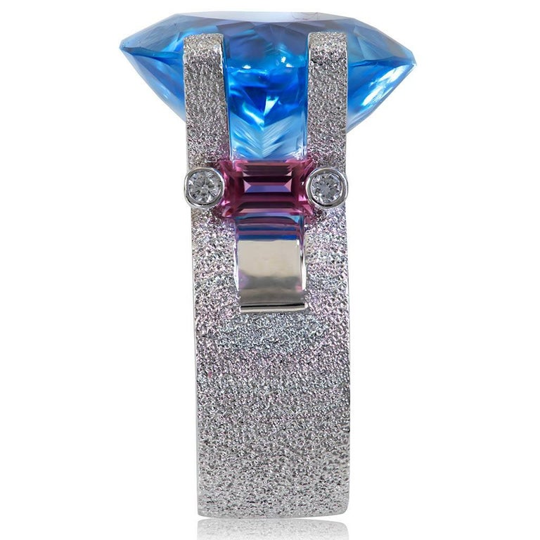 Blue Topaz Tourmaline Diamond White Gold Ring One of a Kind In As New Condition For Sale In New York, NY