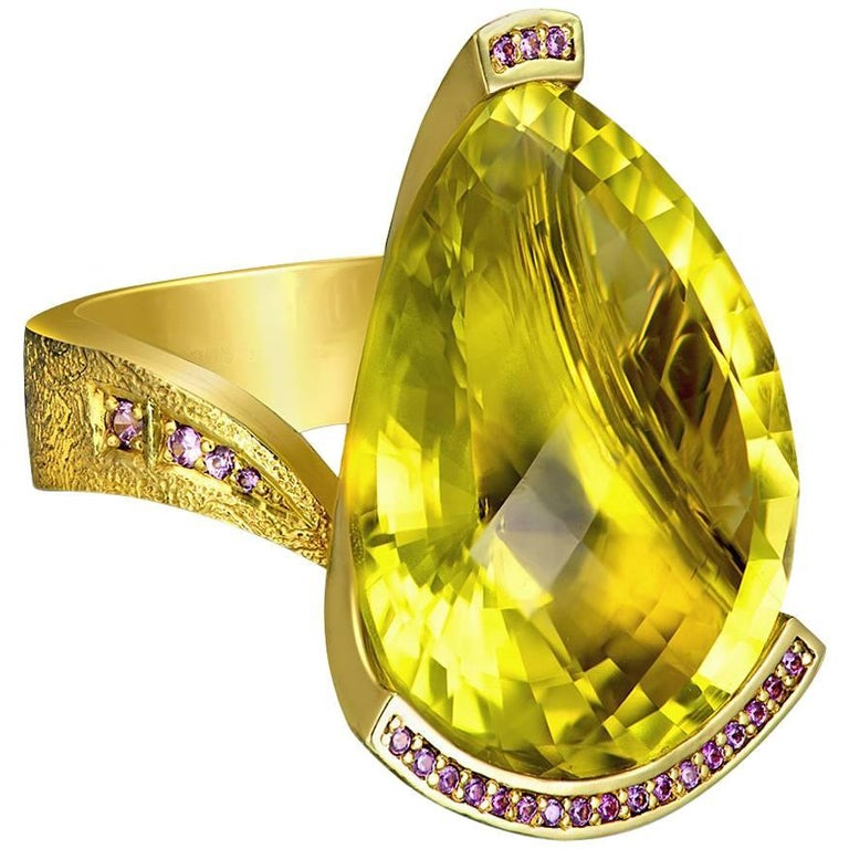 Lemon Citrine Sapphire Textured Gold Swan Ring One of a Kind