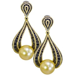 South Sea Pearl Black Diamonds Gold Drop Earrings One of a Kind